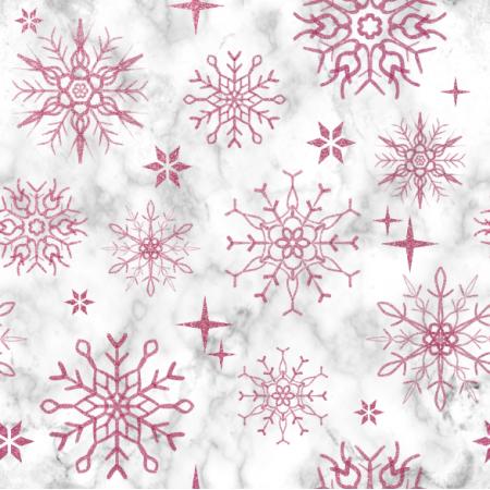 Fabric 25811 | różowe brokatowe płatki śniegu na marmurowym tle