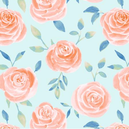 Fabric 26020 | pomarańczowe róże na niebieskim tle. akwarela