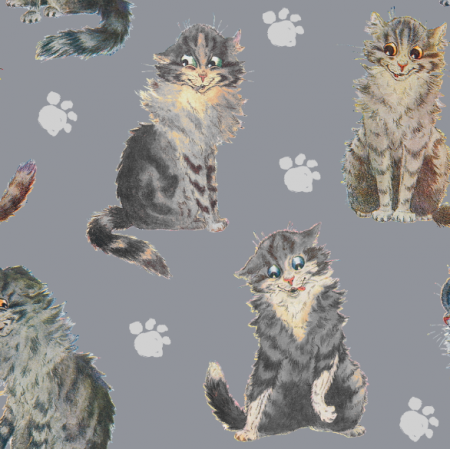 Fabric 26043 | ULTIMATE GRAY CATS  / SZARE KOTY NA SZARYM TLE