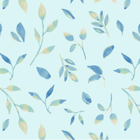 Fabric 26048   Akwarelowe liście na niebieskim tle.