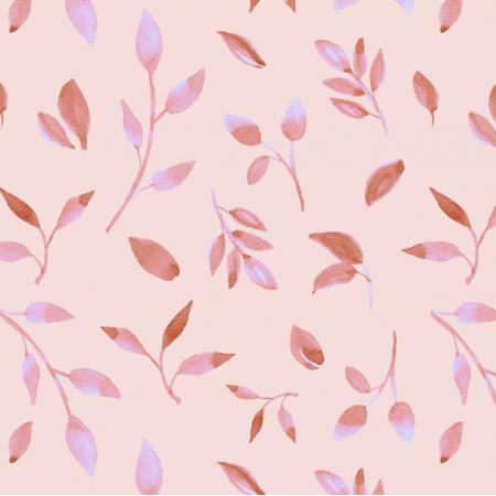 Fabric 26049 | Akwarelowe liście na łososiowym tle.