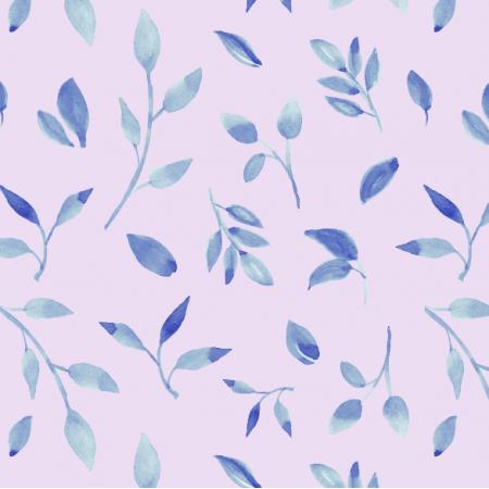Tkanina 26050 | Akwarelowe liście na liliowym tle.
