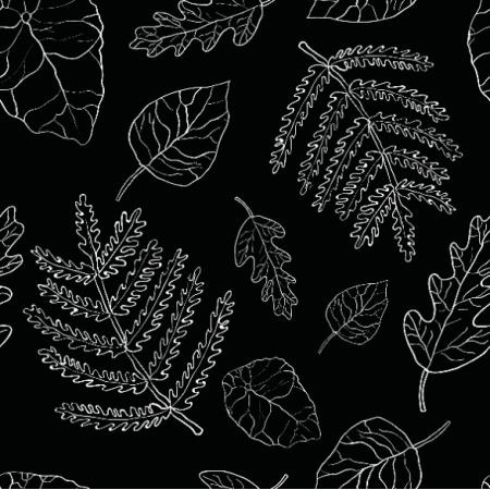 Tkanina 26320 | liście czarne