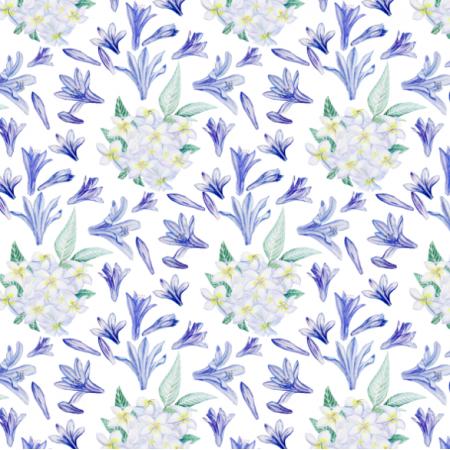 Fabric 26325 | białe i niebieskie kwiaty akwarela0