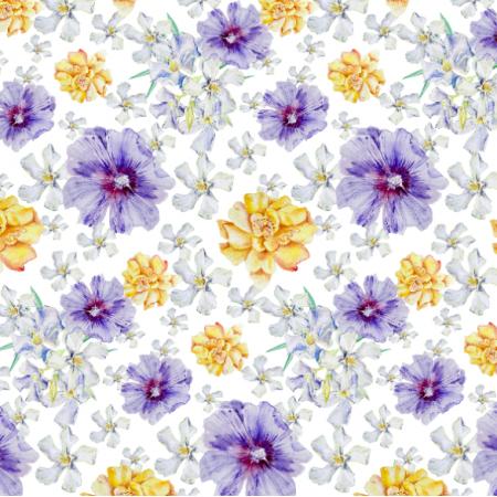 Fabric 26327 | żółty i niebieski kwiat. akwarela