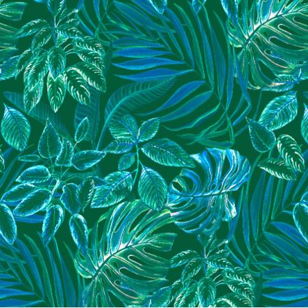 Fabric 26329 | liście topikalne neonowe. akwarela