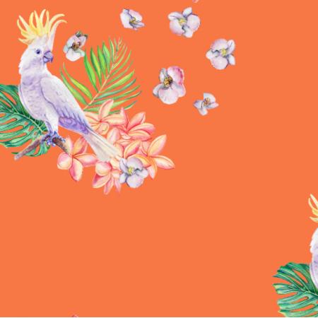 Fabric 26343 | Biała papuga z roślinami