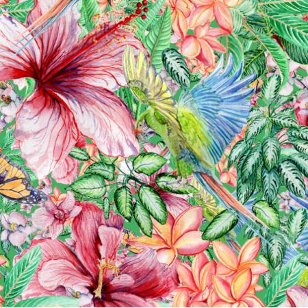 Fabric 26345 | papugi z roślinnością tropiki