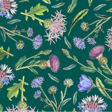 Fabric 26629 | CHABROWA ŁĄKA NA ZIELONYM TLE