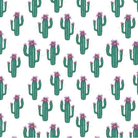 Fabric 26892 | kaktusik biel