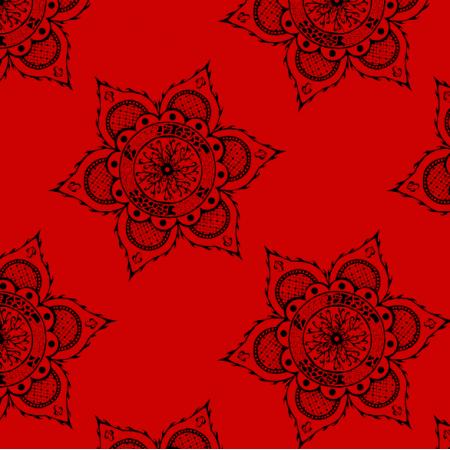 Fabric 27163 | mandala czerwona duża