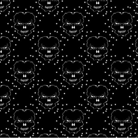 Fabric 27177 | Czaszka gwiazdki ciemne duże