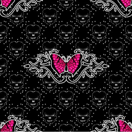 Fabric 27181 | czaszka motyl ciemny duży
