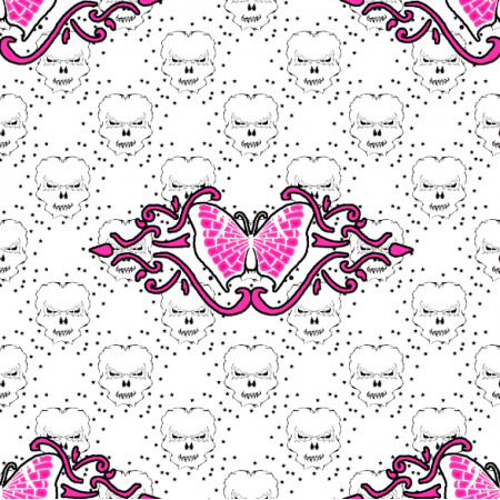 27189 | czaszka gwiazdki jasne różowe duże