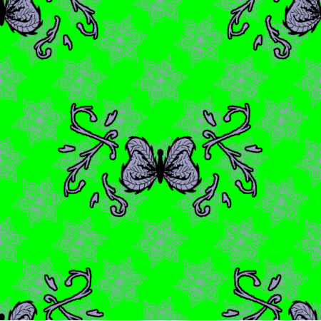 Fabric 27309 | motyl mandala jasny zielony duży