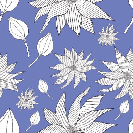 Fabric 27332 | Biełe kwiaty na niebieskim tle0