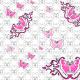 Fabric 27353 | Motyle czaszka jasne różowe