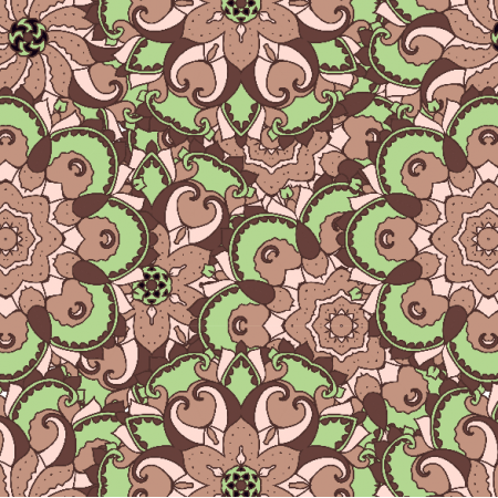 Tkanina 2890 | green and brown ornament