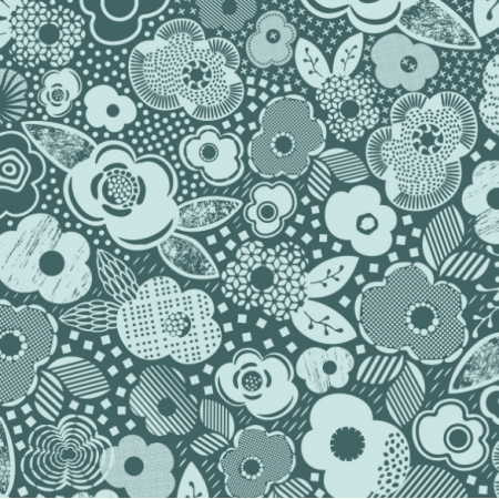 Fabric 27604   Pine and mint shades botanical garden with flowers, geometric shapes and whatnot