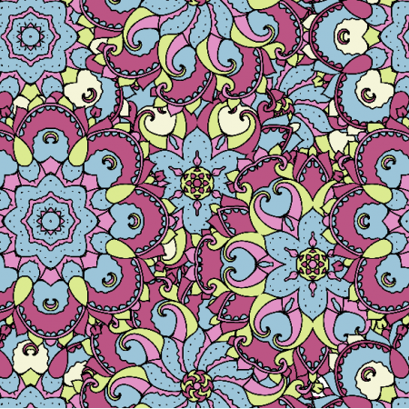 Fabric 2893 | blue, pink and green ornament