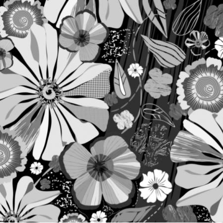 Fabric 27665 | Summer Garden - Black and White Painterly Design - large flower 10 cm