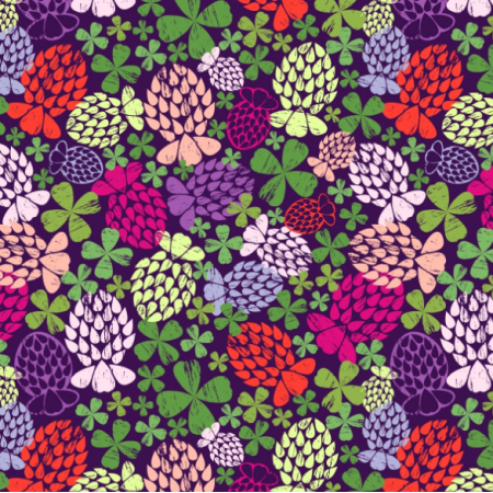 Fabric 27667 | Live in four-leafed clover ditsy print small scale, average 3,5 cm