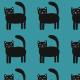 Fabric 27881 | Koty turkusowe
