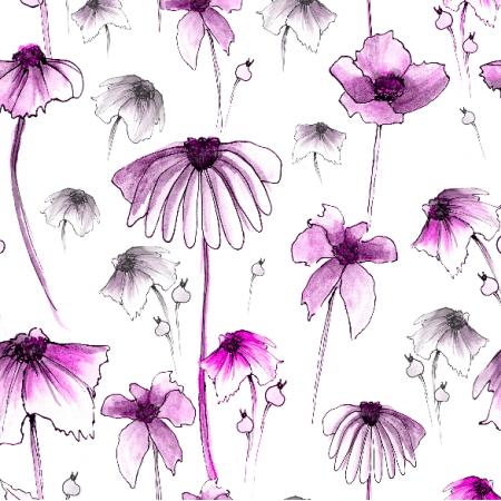 28241   Purple, lila flowers on white background