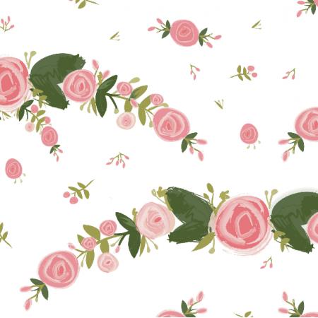 Fabric 28252 | roses in garlands