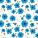 Fabric 28256 | Blue flowers on white background.