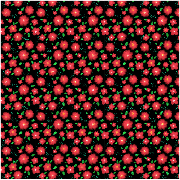 Fabric 28305   Red Flowers on black background.