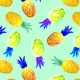 Fabric 28306   Colorful pineapple on mint background.