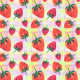 Fabric 28314   strawberries on a pastel background