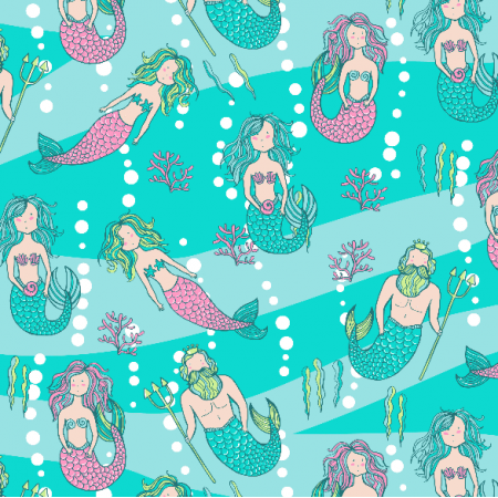 Fabric 2974 | mermaids and tritons