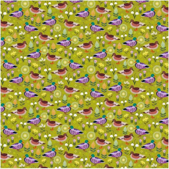 Fabric 28571 | Duck and drake are looking at each other in a park with folk flowers