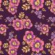Fabric 28765 | Ornamentalne różowo-fioletowe kwiaty w stylu retro na purpurowym tle