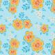 Fabric 28766 | ORNAMENTALNE pomarańczowo-żółte KWIATY W STYLU RETRO NA niebieskim TLE