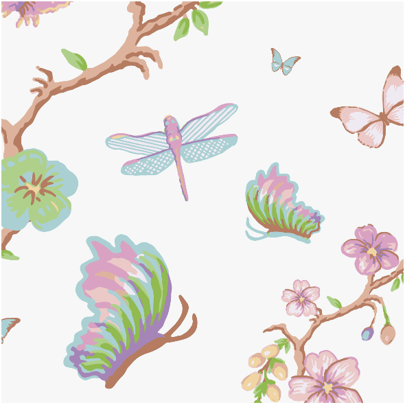 Tkanina 3118 | blossoms and butterflies