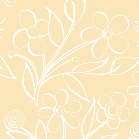 Fabric 485 | floral tile in butter