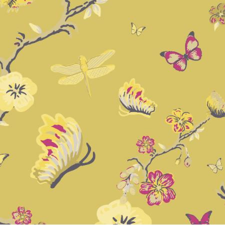 Fabric 3195 | japanese garden, yellow