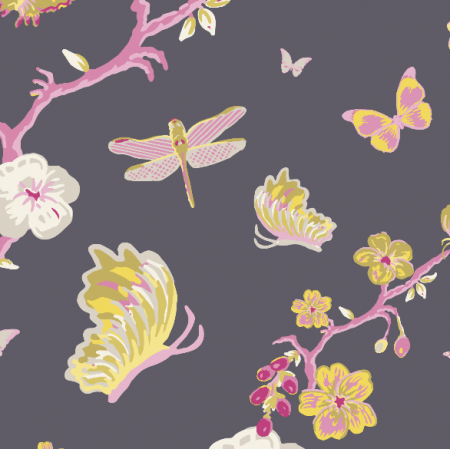 Fabric 3196 | japanese garden, black