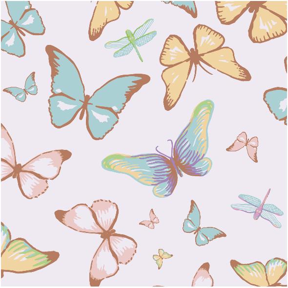 Tkanina 3197 | butterflies, lilac