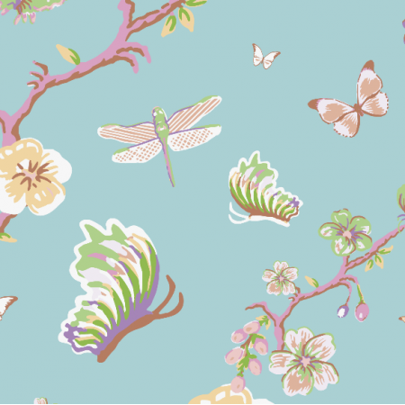 Fabric 3201 | japanese garden, blue