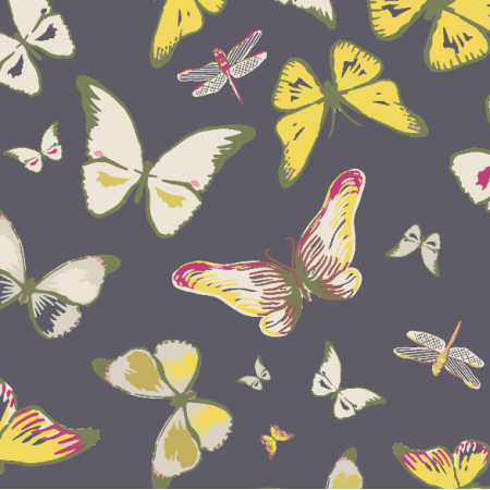 Tkanina 3206   butterflies, black