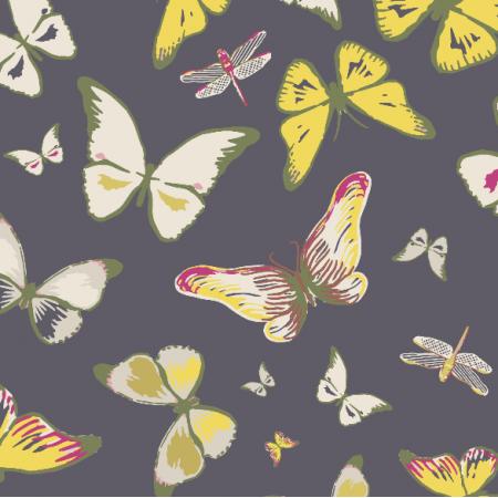 Fabric 3206 | butterflies, black