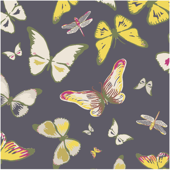 Tkanina 3206 | butterflies, black