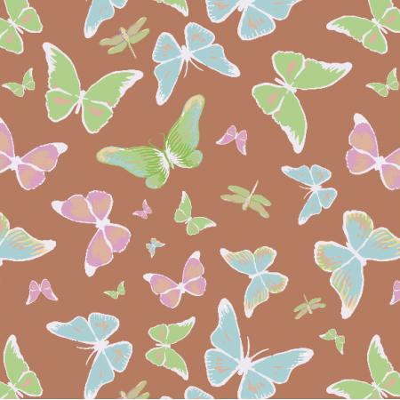 Tkanina 3207 | butterflies, brown