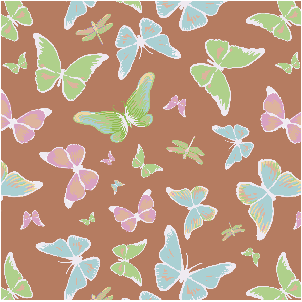 Tkanina 3207 | butterflies, brown