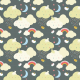 Tkanina 3213 | clouds, black