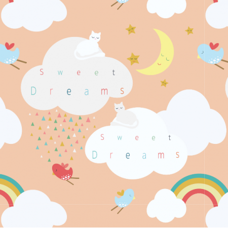 Fabric 3215 | clouds, peach